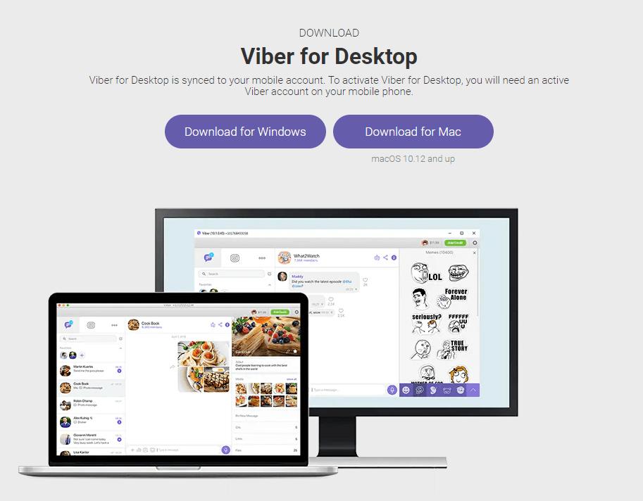 Viber for PC Using Viber HomePage