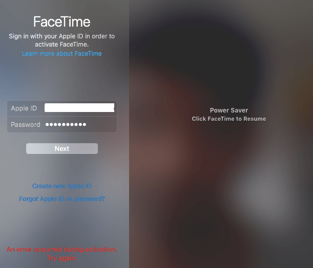 Facetime login